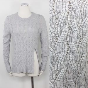 Inhabit Cashmere Cable Knit Crew Neck Sweater Grey